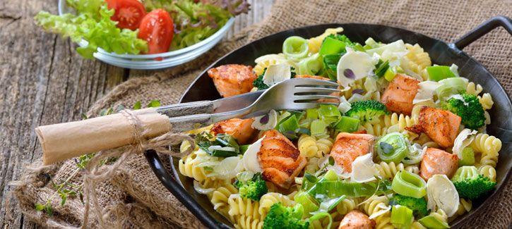 PowerSlim recepten - Romige pasta met zalm, broccoli en prei